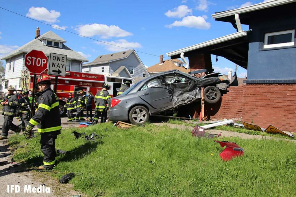 Another view of the vehicle crashed into the porch support