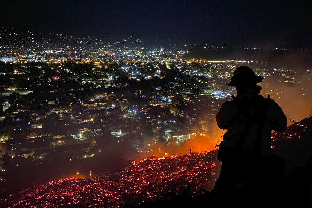 Firefighter at Santa Barbara wildland fire