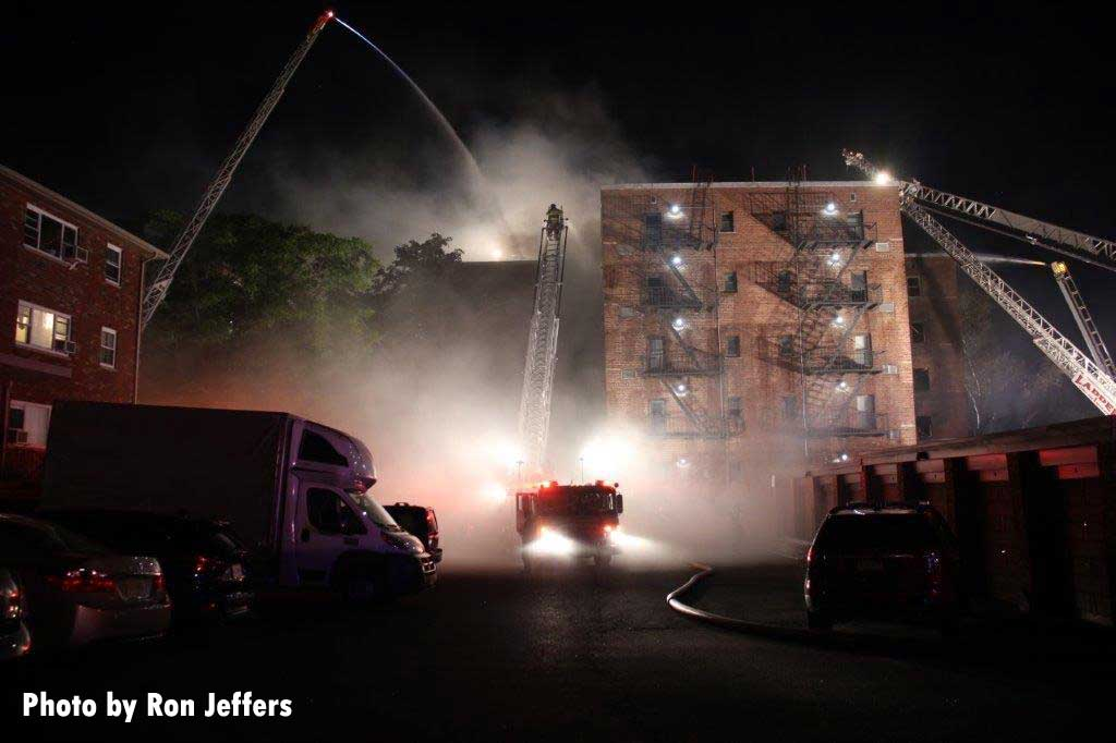 Multiple aerial devices in use at fire in Fort Lee, New Jersey