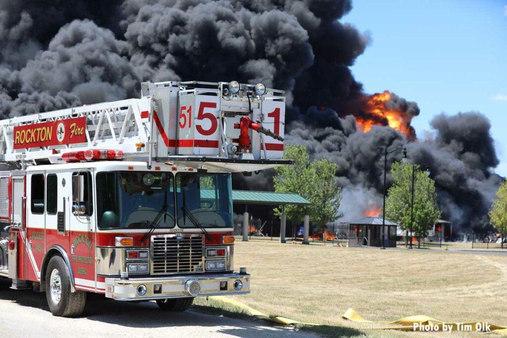 Rockton tower ladder at massive fire