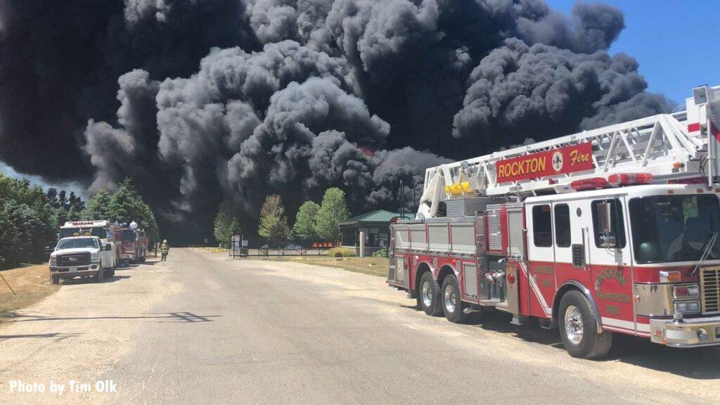 Rockton fire apparatus with vast plumes of heavy black smoke