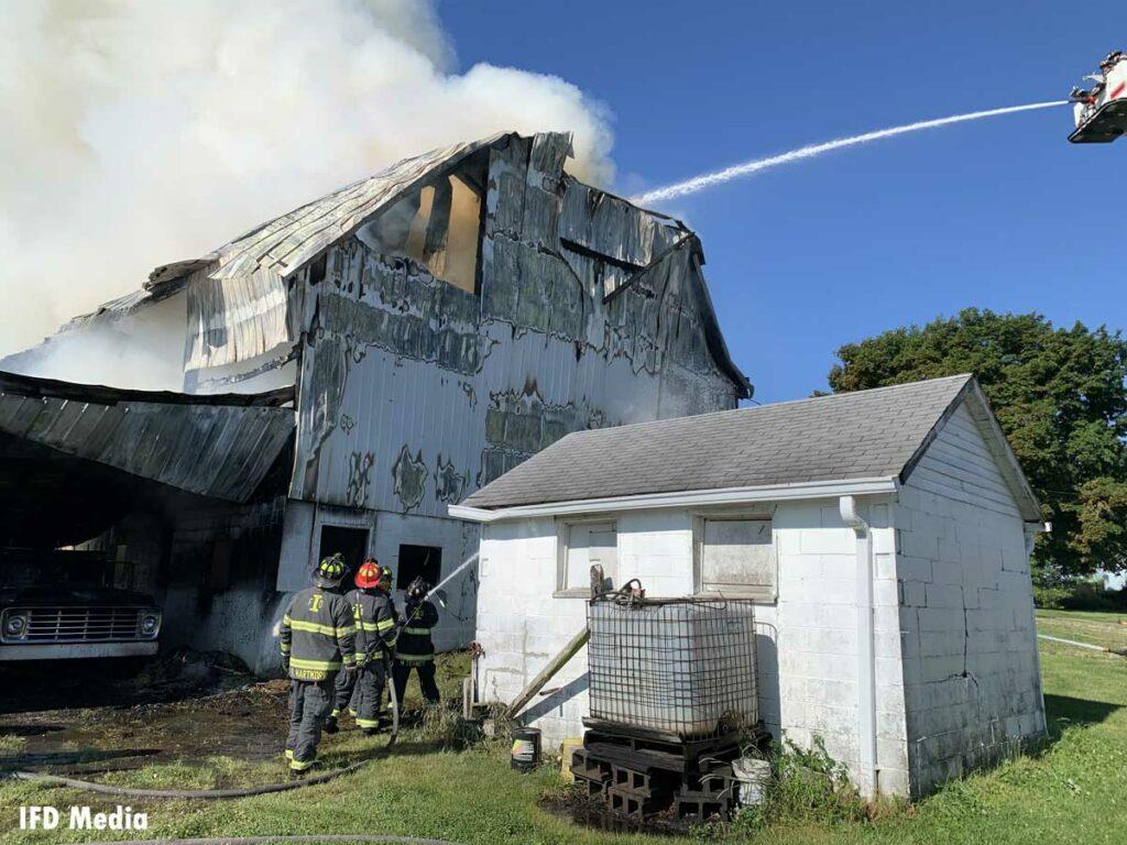 Elevated master stream put on barn fire