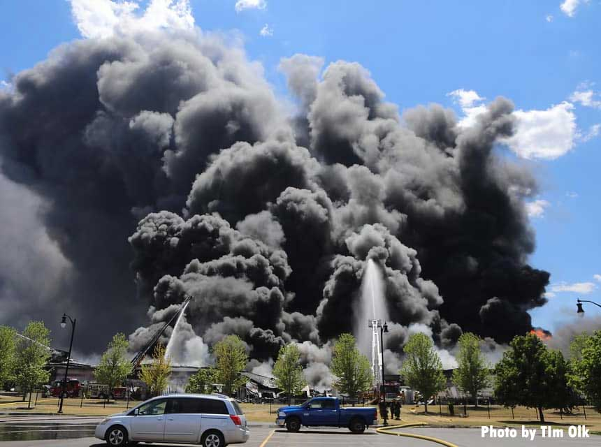 Multiple elevated streams at Rockton IL plant fire