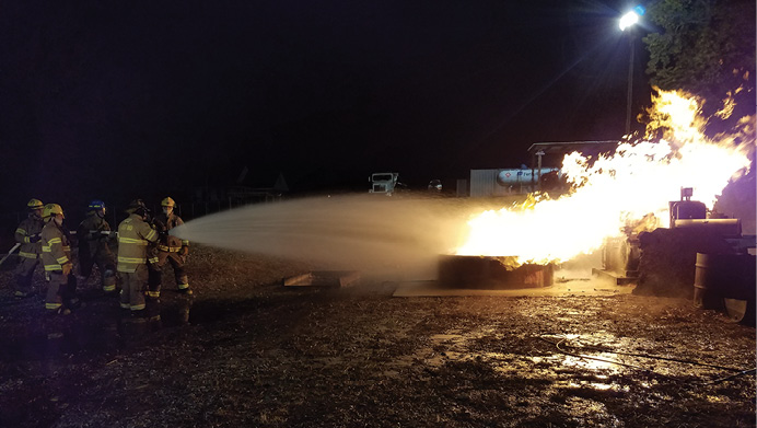 Although significant Class B fires are a very uncommon response for most departments, some level of basic classroom and hands-on training will provide the members with the ability to, at a minimum, provide a basic level of flammable liquid fire suppression capabilities. Develop a contact list of departments and resources (including foam stockpiles) for more significant fires and make it readily available at the communications center.