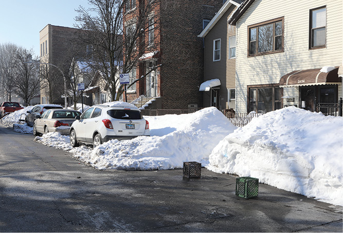 An example of how high the snow was in the front of the building.