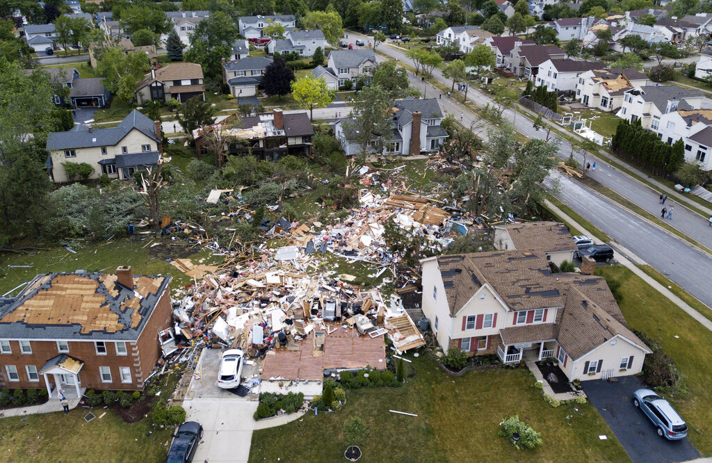 Damage from tornado in the Chicago area