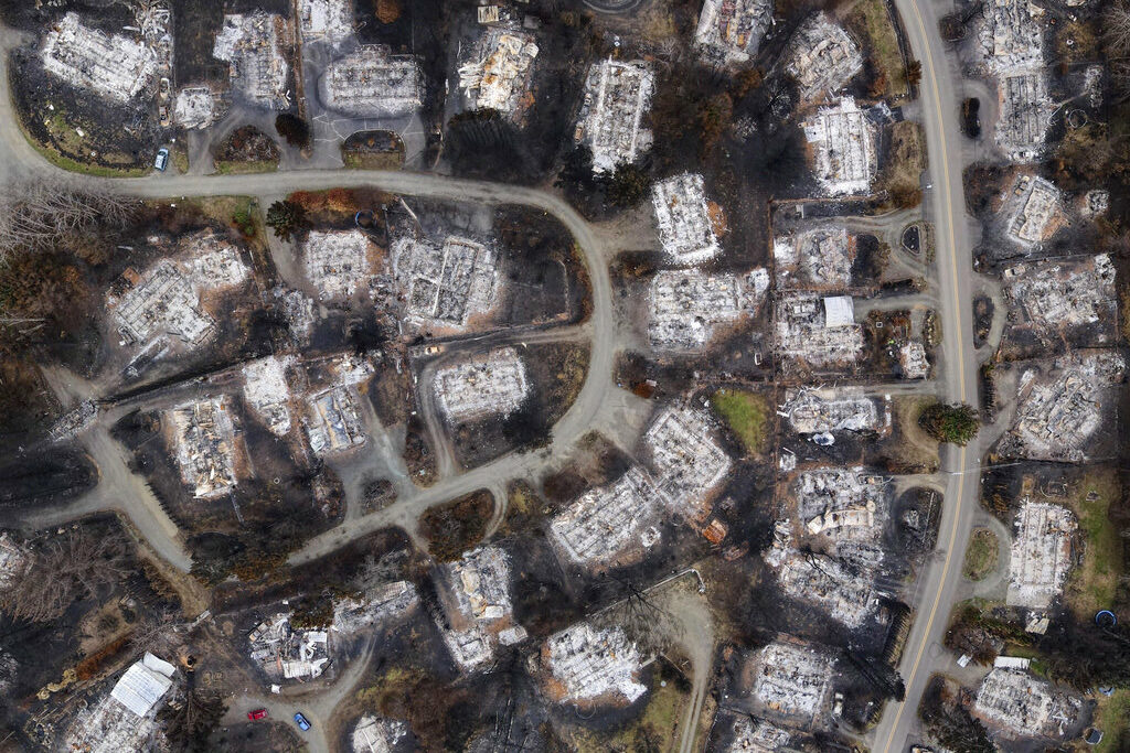 Aerial view of Oregon wildfire damage