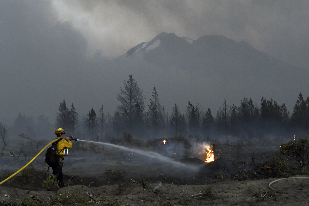 Wildland firefighter with Mount Shasta in the background