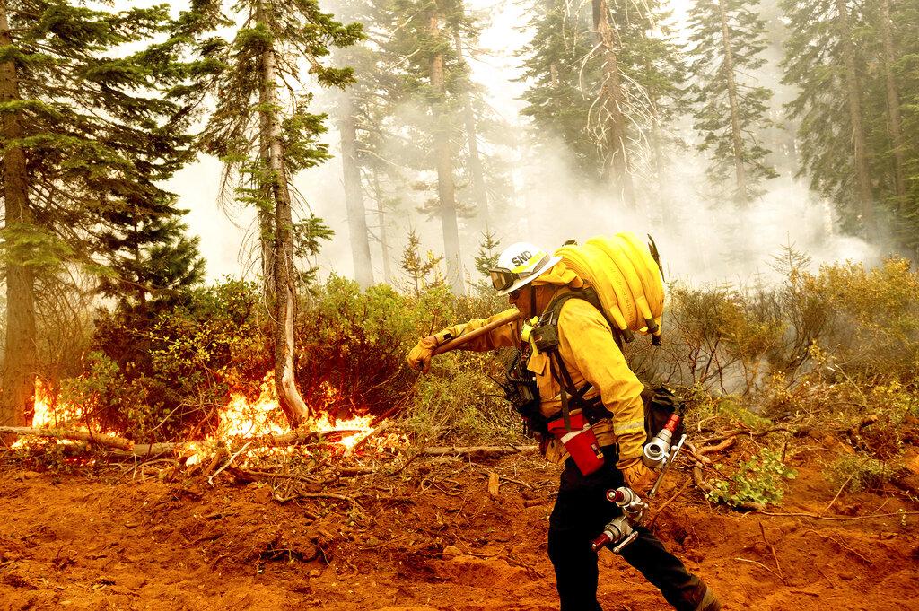 Firefighter trudges through the wildland