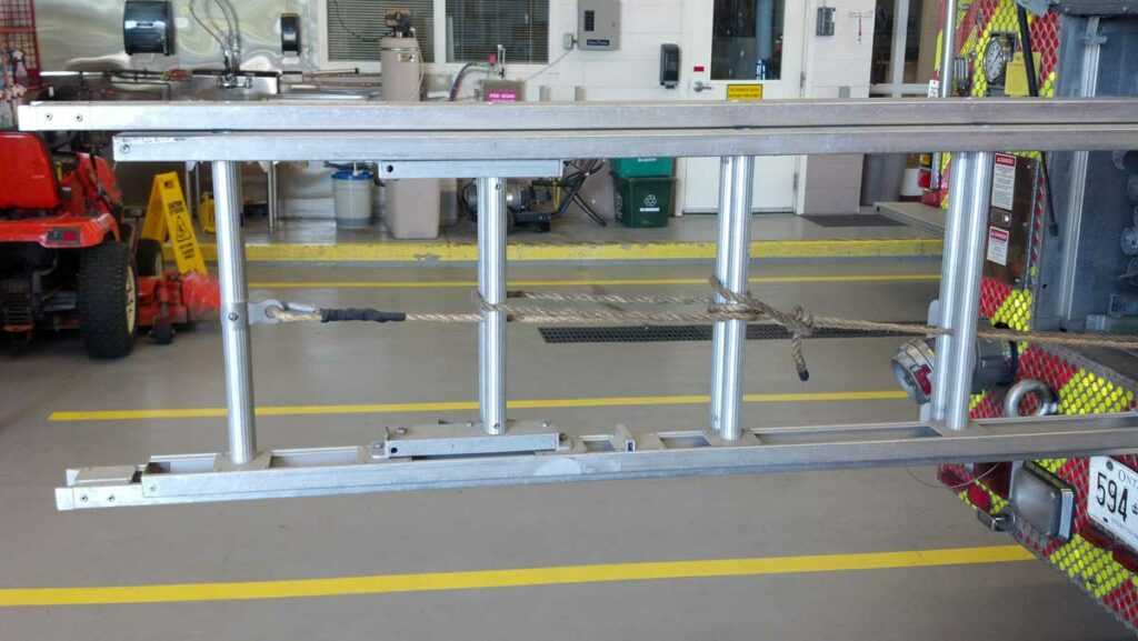 Clove hitch employed on ground ladder