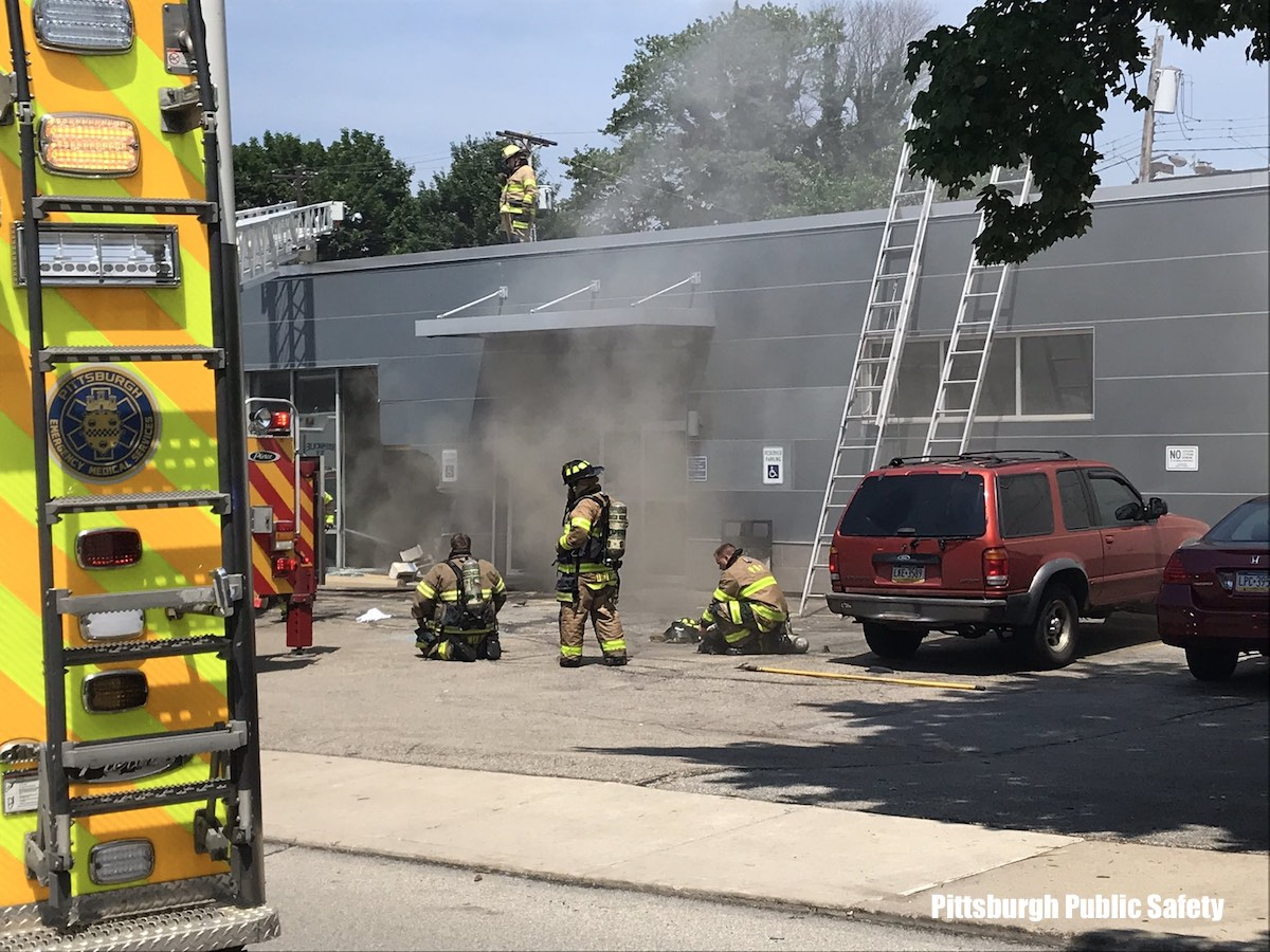Pittsburgh firefighters after fatal crash into building