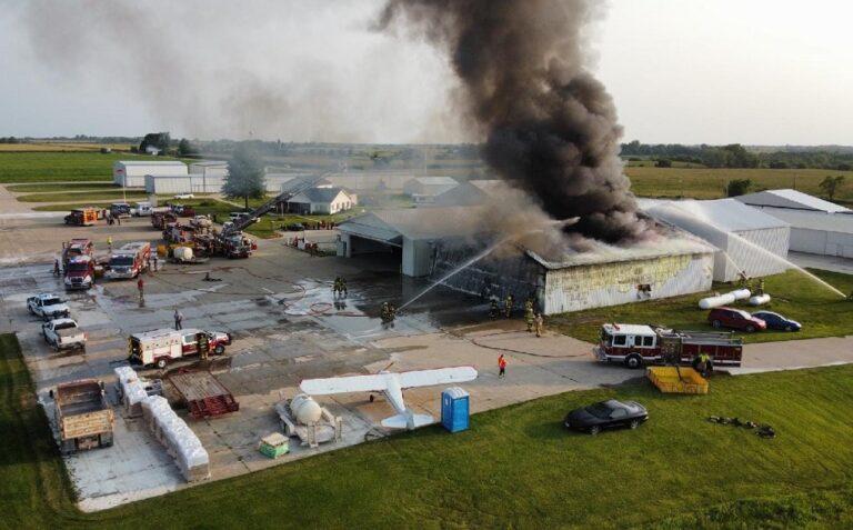 Hanger Destroyed by Fire at Osceloa (IA) Municipal Airport
