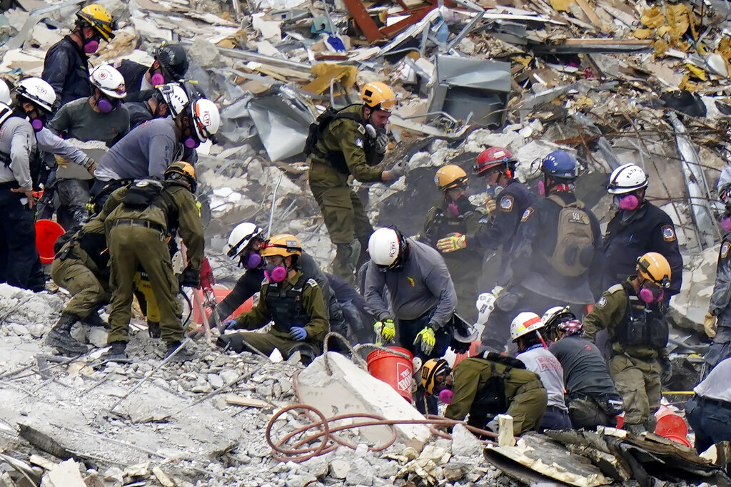 Israel and U.S. crews work at Surfside collapse