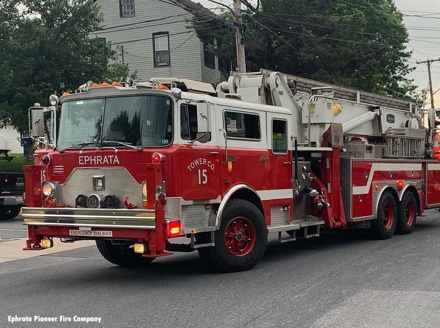 Ephrata Pioneer Fire Company tower ladder