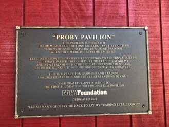 Plaque at Proby Pavilion