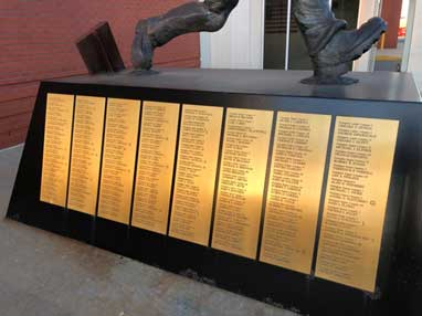 More names on the fallen 343 firefighters on the Siller statue