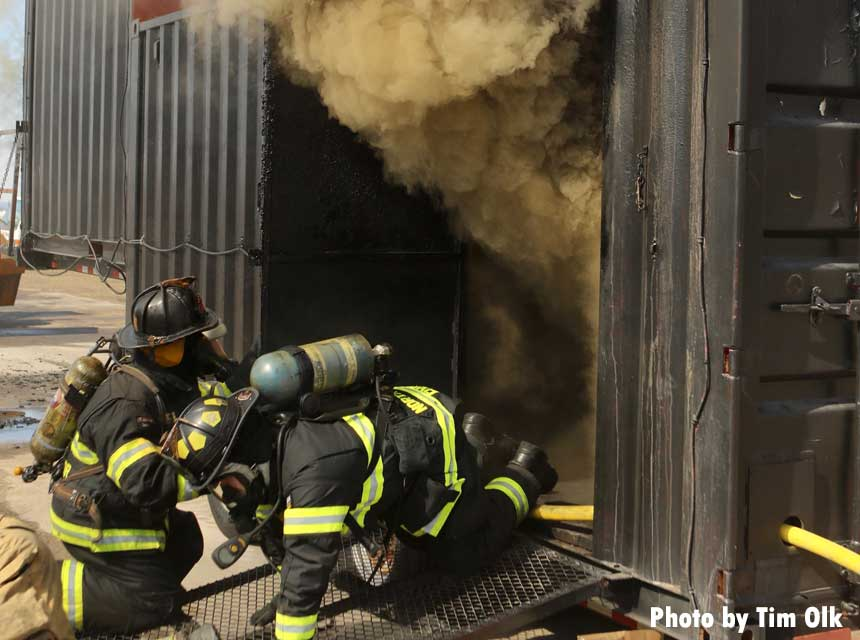 Firefighters at Boone County Fire District 2 undertake flashover training