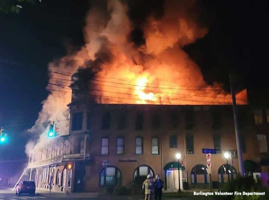 Burlington fire was requested mutual aid to New Hartford for a multiple alarm fire