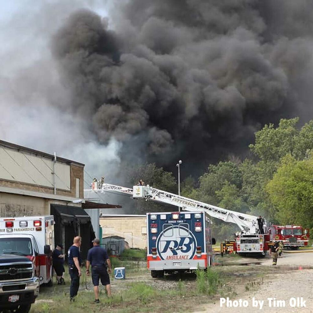 Fire departments respond to major fire in Fort Atkinson, Wisconsin