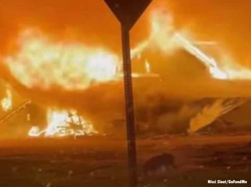 Barn fire scene in Indiana