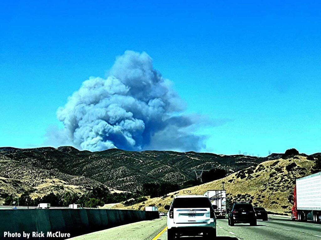 Smoke seen from California freeway