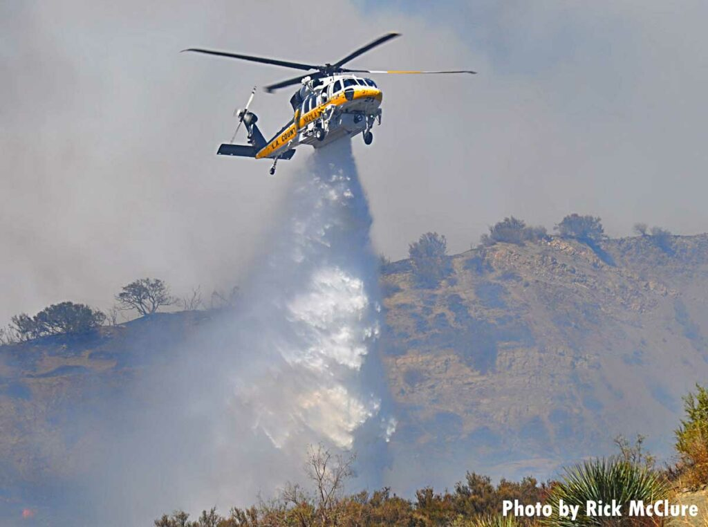 Helicopter at brush fire