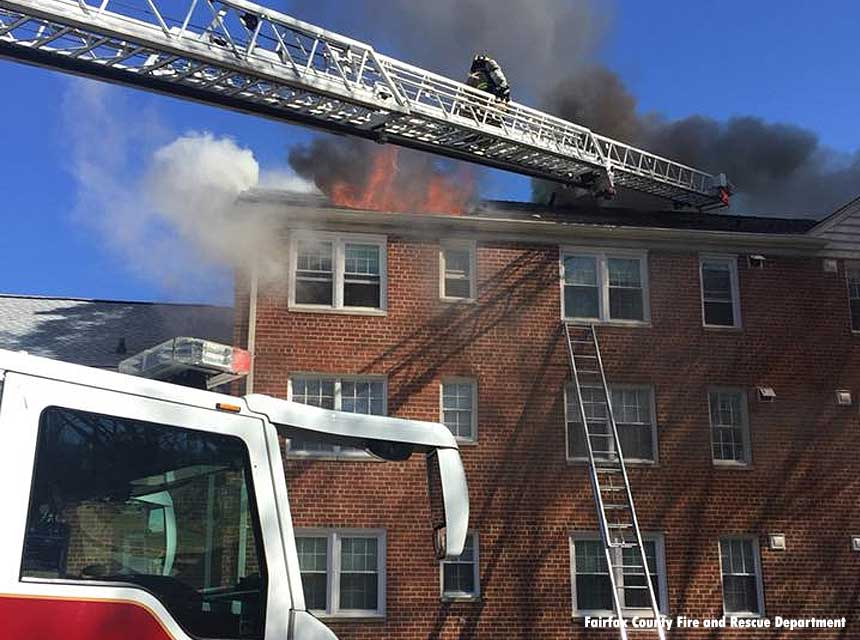 Fairfax County firefighters respond to a 2018 apartment fire