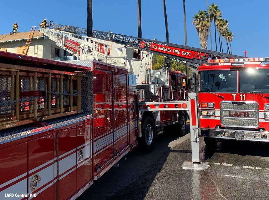 City of Los Angeles firefighters respond to a structure fire in January 2019.