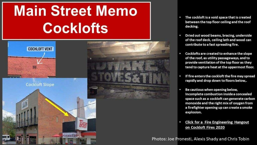 Main Street Memo on cocklofts