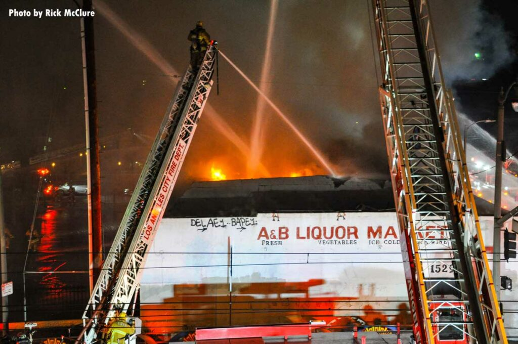 LAFD elevated master streams at structure fire