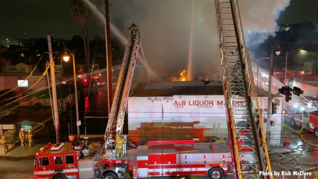 Multiple aerial ladders at fire in Los Angeles building