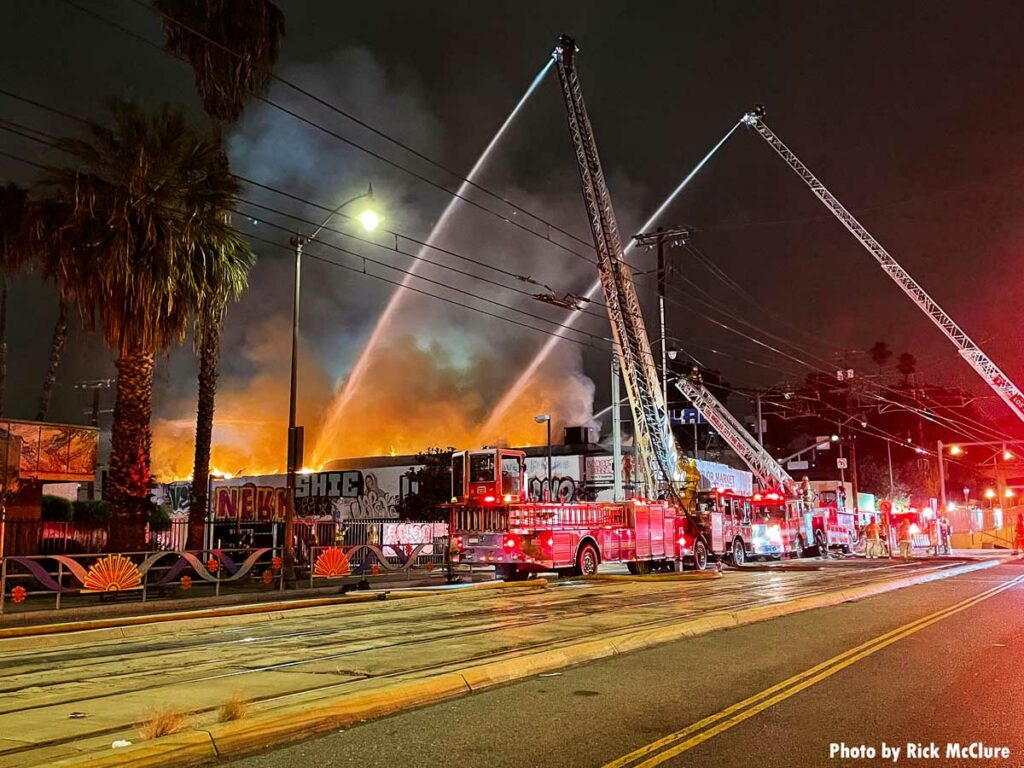 Array of LAFD fire apparatus at structure fire