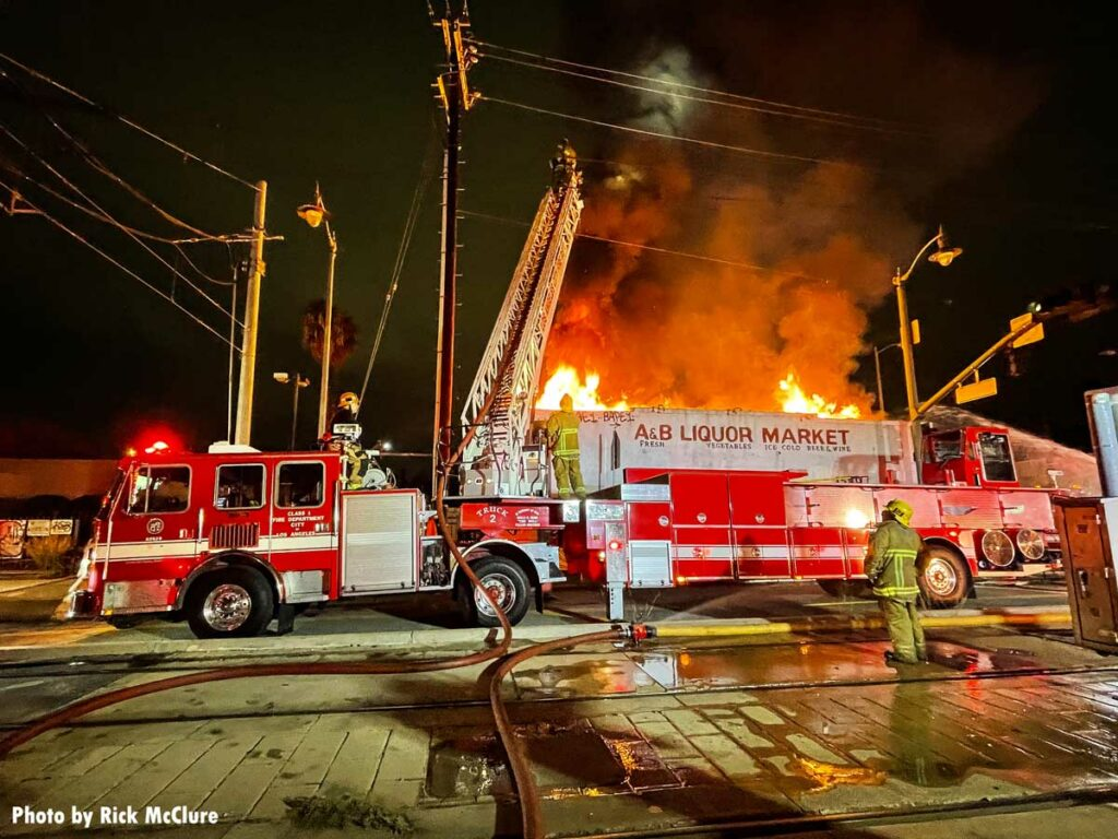 Los Angeles City Fire Department tiller at structure fire