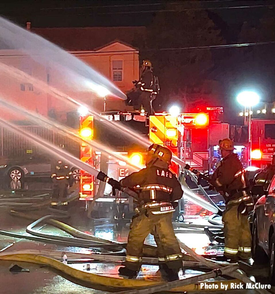 LAFD firefighters with hose streams