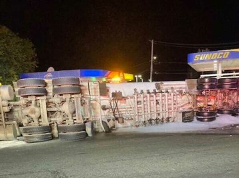 Tanker Truck Rolls Over Near Boston, Spilling Diesel Fuel