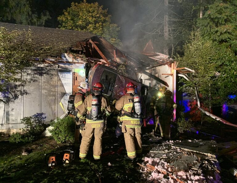 Fire Ignites, Driver Extricated After Car Slams into OR Home