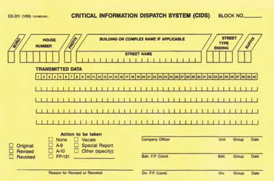Critical Information Dispatch System card